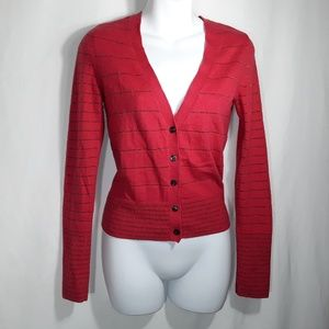 American Eagle Outfitters Red Metallic Cardigan SP